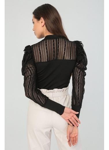 Modaset Modaset 20K5268K1084 Dantel Ve Fırfır Detaylı Bluz Siyah